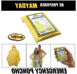 New Mayday 12 Rain Poncho Hooded Emergency Disposable Adult