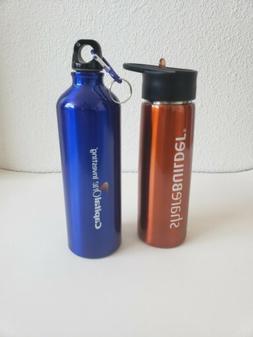 2 thin metal water bottles mugs Capital one investing Shareb