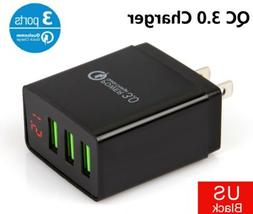 3 Port USB QC 3.0 Home Wall Quick Fast Charger LED Display P