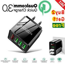 3 Port USB Home Wall Fast Charger LED DIGITAL DISPLAY QC 3.0