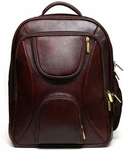 accessories leather 17 inch brown laptop backpack