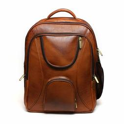 Jackmia Leather Accessories Leather Brown Laptop Backpack Tr