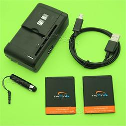 Accessory 2x 950mAh Battery Travel Charger USB Cable for Alc