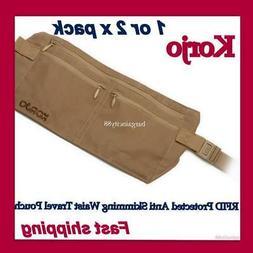 Money Belt travel bag secure waist zip Pouch RFID-Blocking C