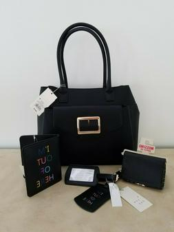 A New Day Black Buckle Tote Handbag with Wallet & Travel Acc