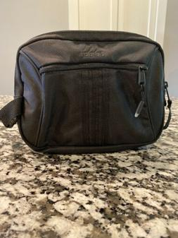 Adidas Black Nylon Toiletry Cosmetic Bag, Double Zipper, Bra