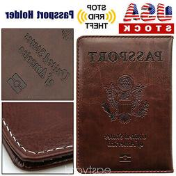 Brown PU Leather Passport Cover Protector ID Card Case Trave
