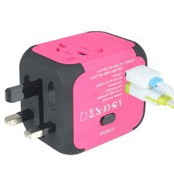Dual USB AU/UK/US/EU Universal Travel AC Power Charger Adapt