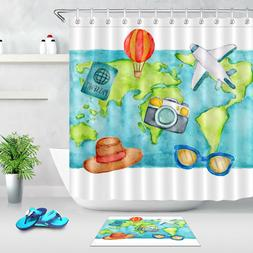 Fabric Shower Curtain Liner World Travel Flight Bath Accesso