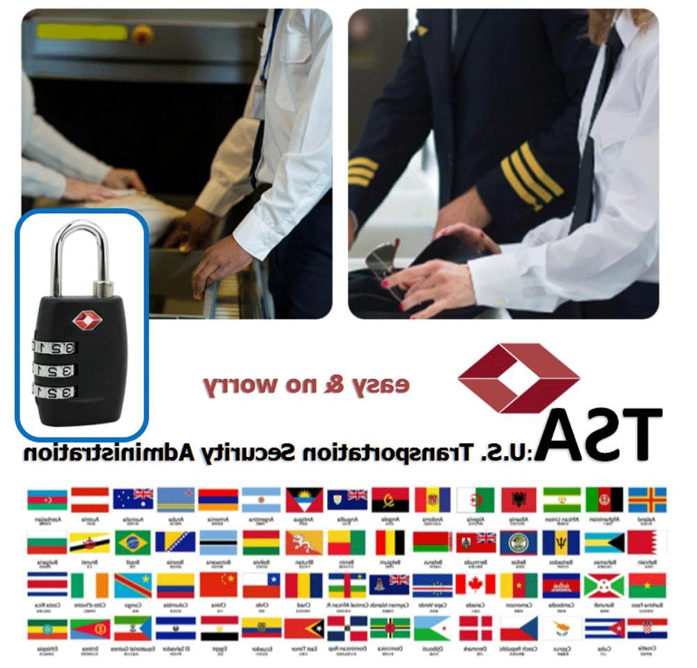 4x TSA Luggage Suitcase Combination Reset Padlock