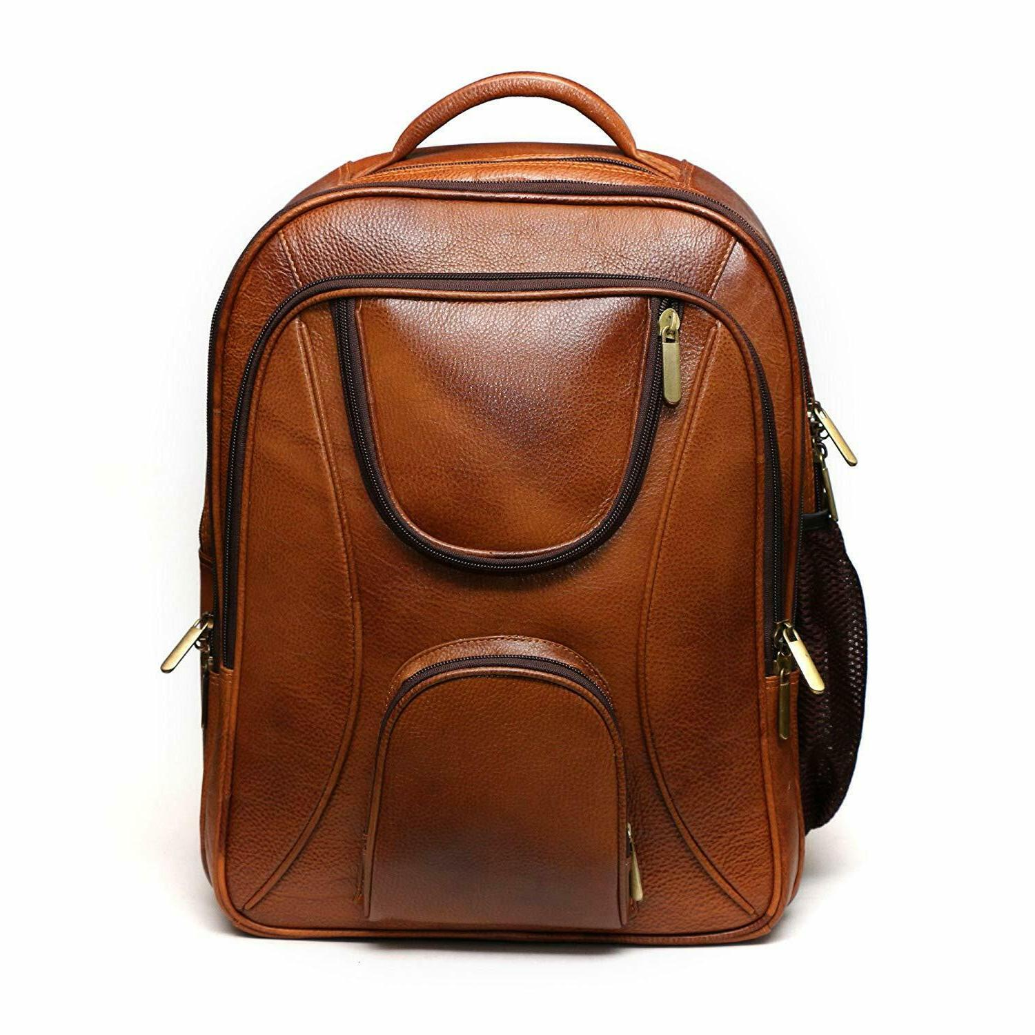 accessories leather brown laptop backpack travel bag