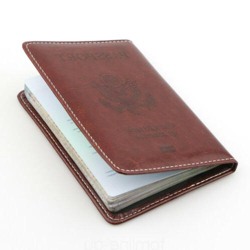 Brown Cover Protector ID Card Travel Wallet US
