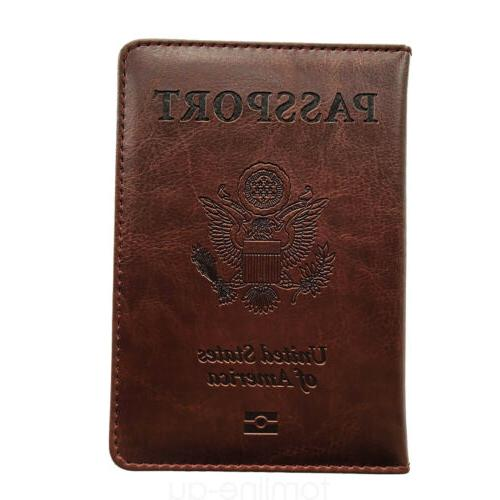 Brown Leather Passport Cover Card Travel Wallet US