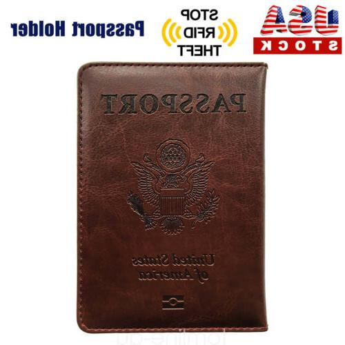 brown pu leather passport cover protector id