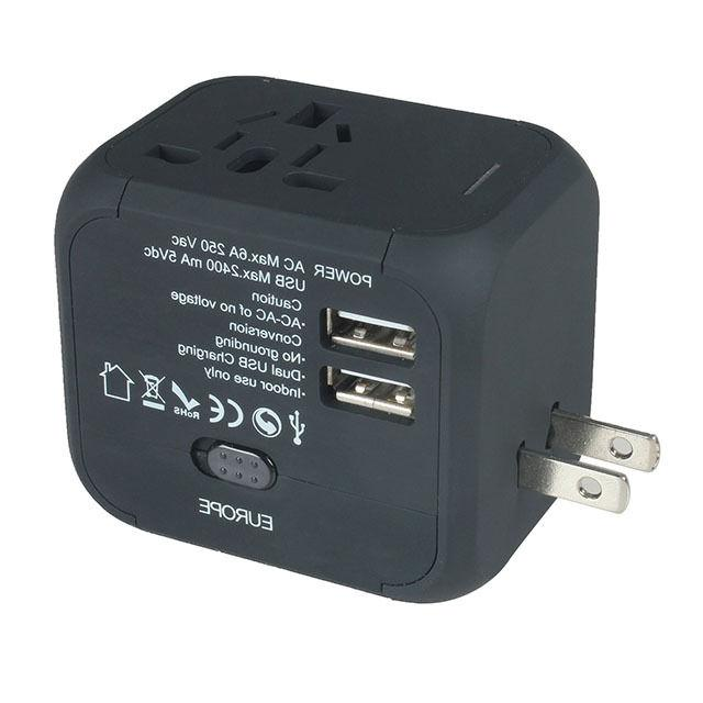 Dual USB AU/UK/US/EU Travel AC Charger Adapter