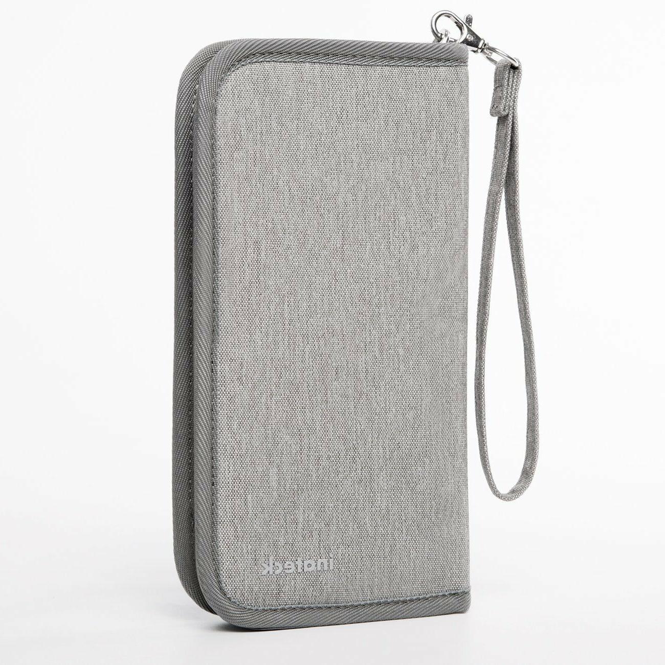 gray travel wallet passport holder family document