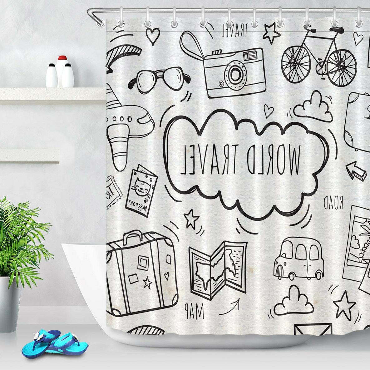 Grey Travel Map Shower Curtain Bath Rug