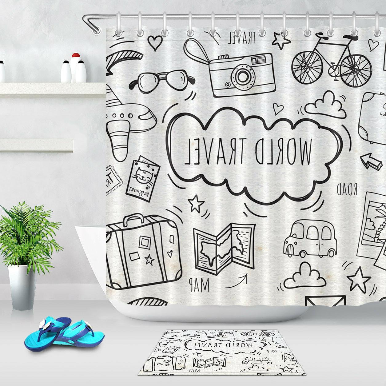 grey fabric world travel map shower curtain