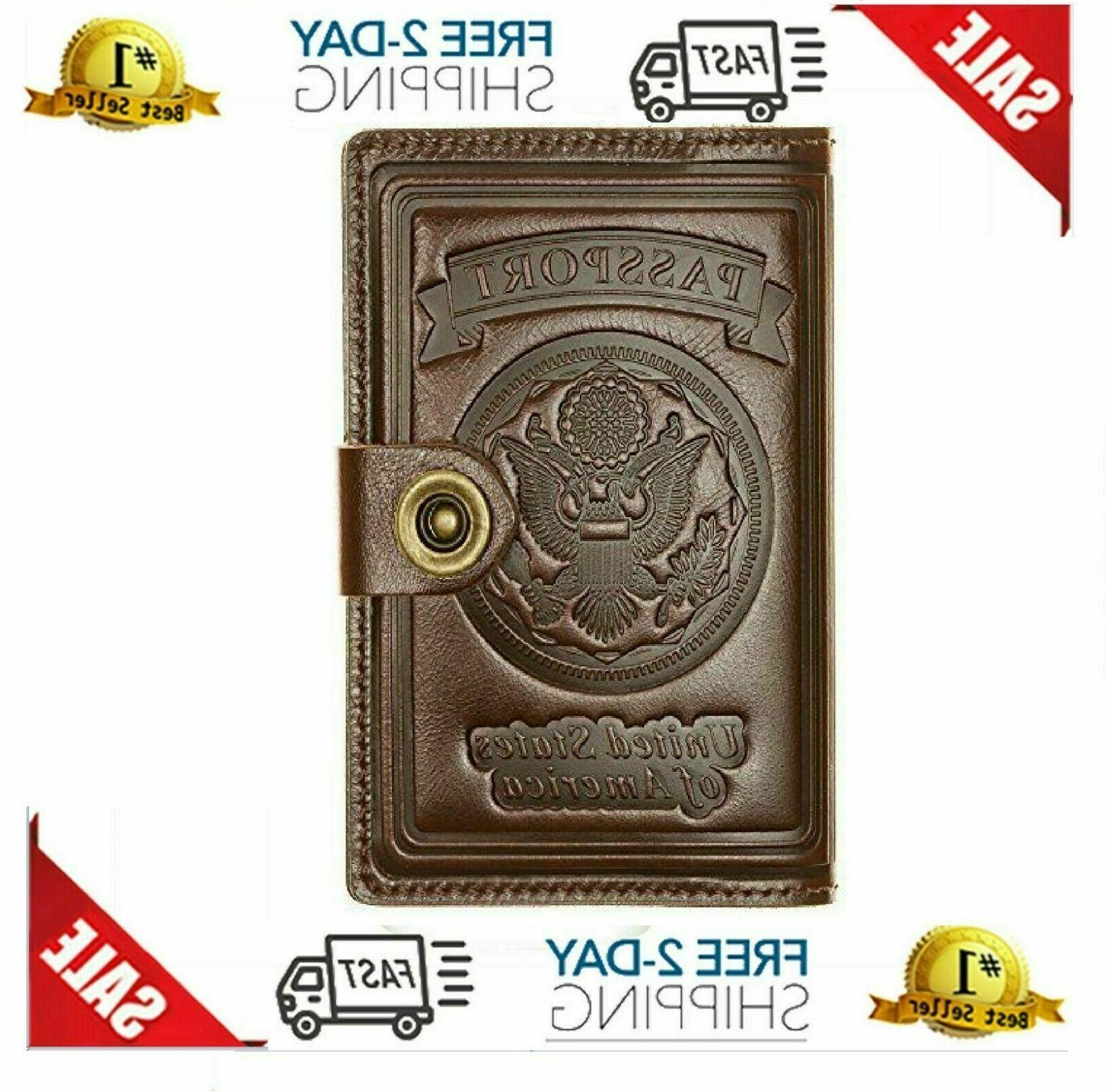 Holder Cover Card Wallet, Funda de cuero para pasaporte marr
