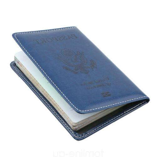 Leather Cover ID Case Travel Wallet US