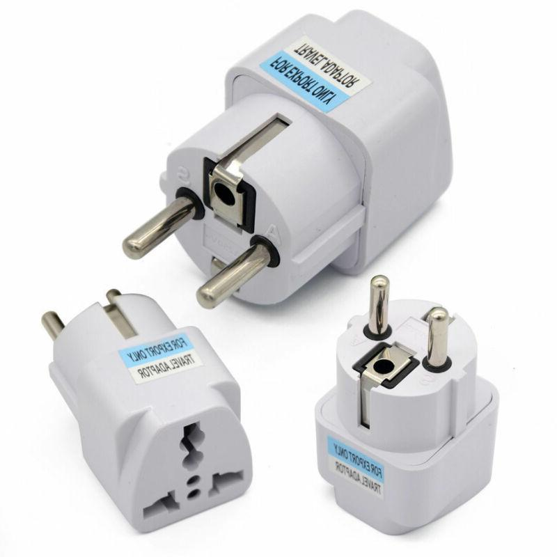 Portable UK US AU to EU European Power Socket Plug Adapter T