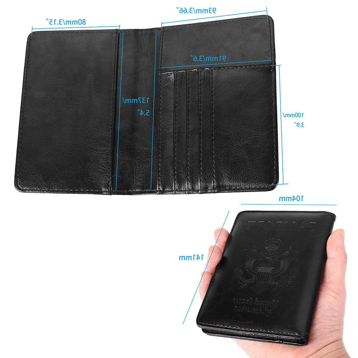Premium Leather Blocking Passport ID Cards Cover Case