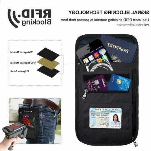 RFID Passport Holder Travel Neck Pouch Anti-theft