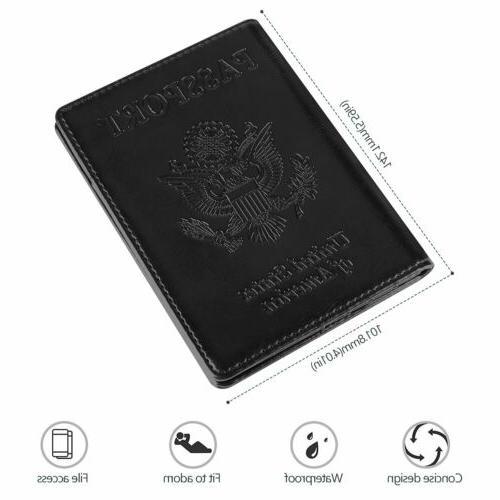 Slim Leather Travel Passport Wallet Holder Blocking ID US