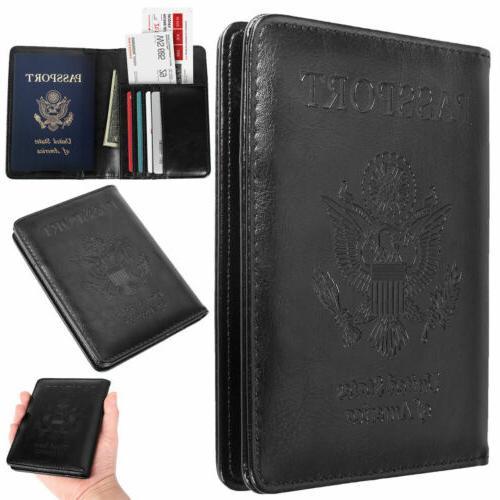 slim leather travel passport wallet holder rfid