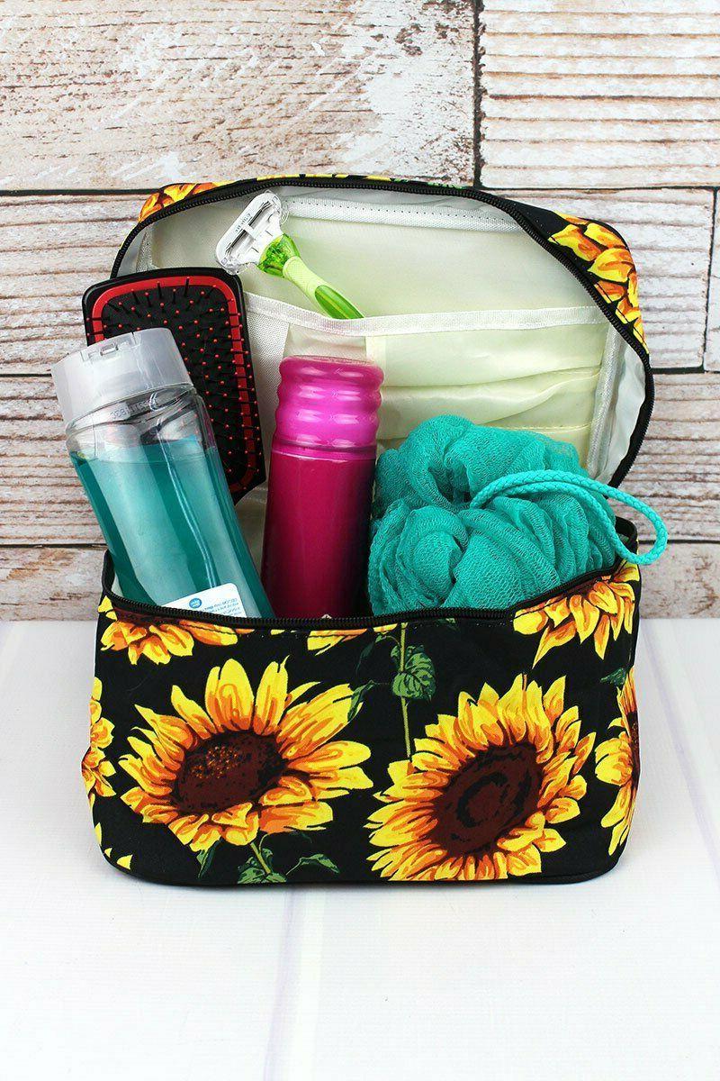 Sunflower Print Train Travel Cosmetic