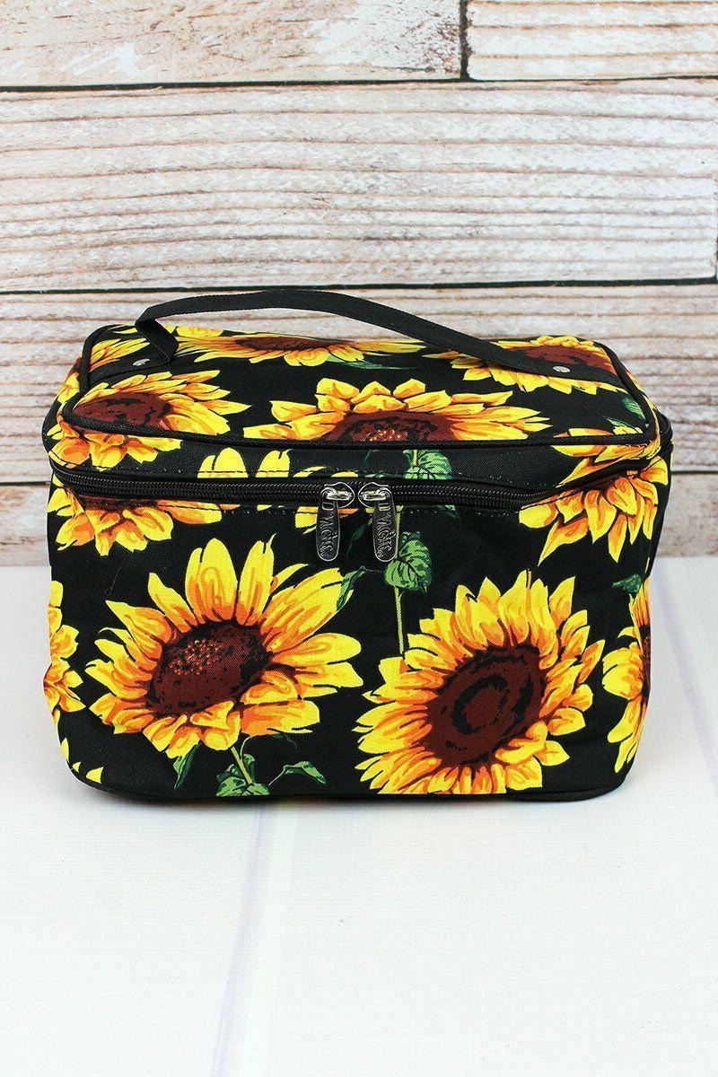 sunflower print train case travel bag cosmetic