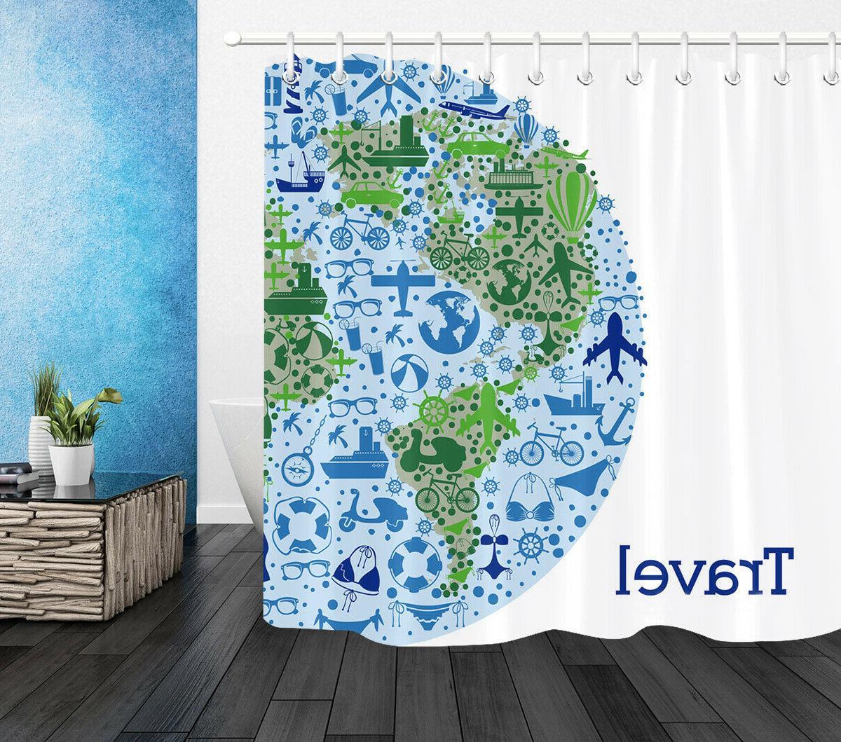 Travel Polyester Fabric Curtain Bath