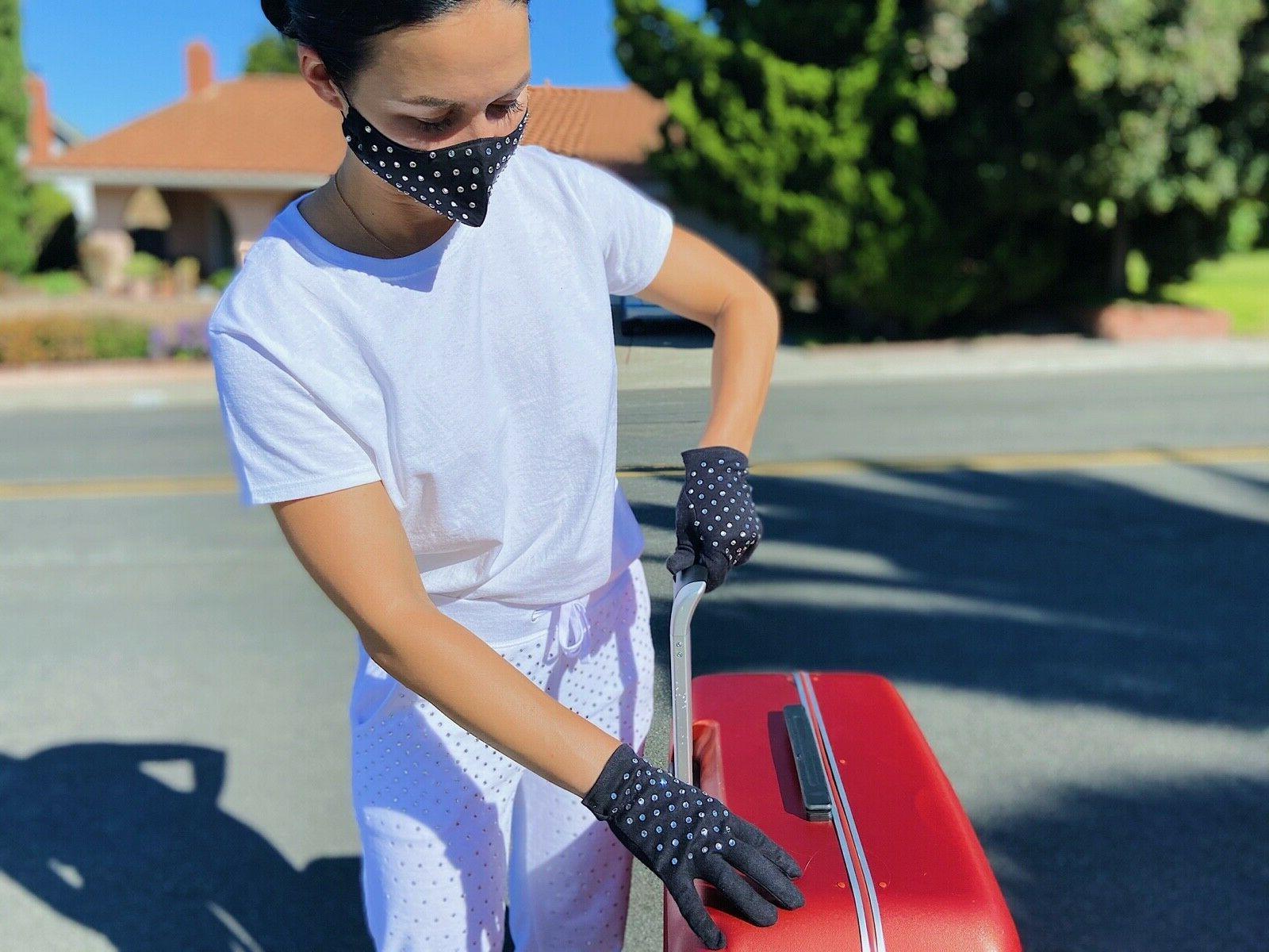 Women's Fashion Cotton Face Mask Gloves Kit Rhinestones