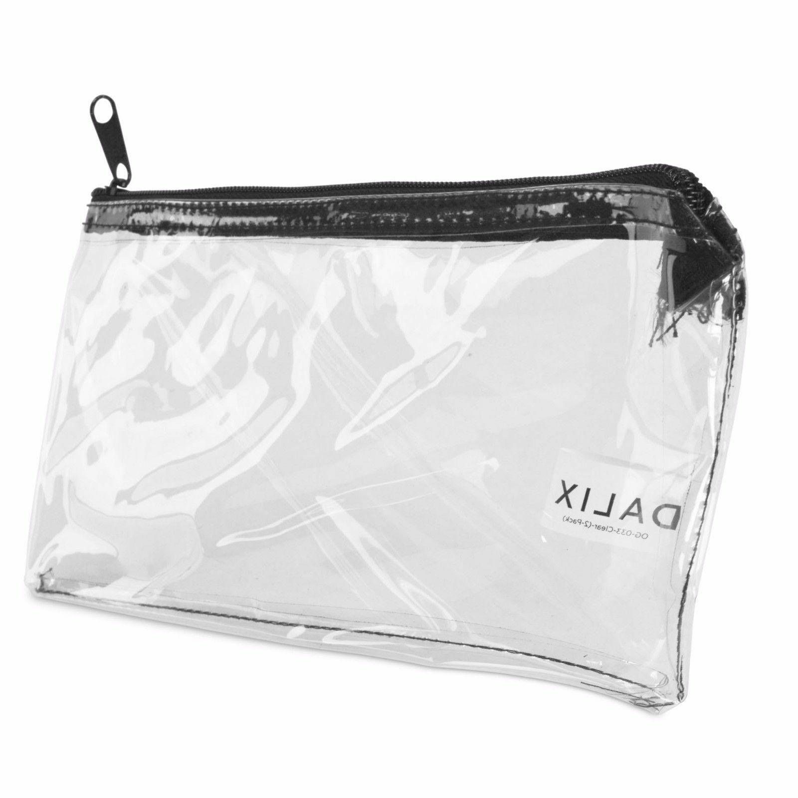 DALIX Zipper Makeup Bag Pencil Travel Holder Clear
