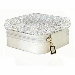Luxury Crystal Bling Jewelry &amp Accessory Holder Pouch, Tr