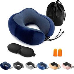 Memory Foam Travel Pillow Head Neck Support Cushion With Sle