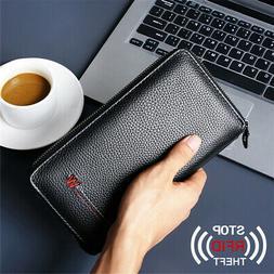 Mens Passport Holder Wallet Leather RFID Travel Document ID