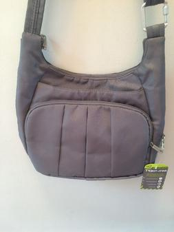 NEW SUPER TRAVELON ANTI-THEFT CROSSBODY PURSE GRAY W/PINK LI