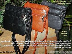 New Womens 4zip Leather Sml Crossbody Shoulder Bag Handbag P