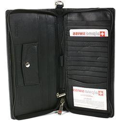 Alpine Swiss Passport Case Leather Organizer Zippered Travel