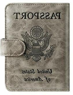 Passport Holder Cover Wallet RFID Blocking Leather Card Case