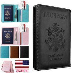 Premium Leather RFID Blocking Passport Travel Wallet Holder