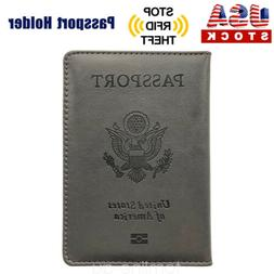PU Leather Passport Cover Protector ID Name Card Case Travel