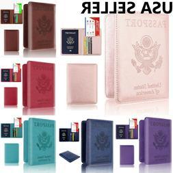 RFID Blocking Leather Passport Holder ID Credit Card Cover C