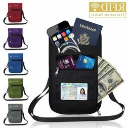 RFID Blocking Passport Holder Travel Wallet Bag Security Nec