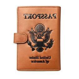 RFID Blocking Passport Holder Travel Wallet. Brown US Passpo