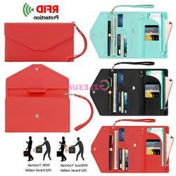 RFID Passport Holder Wristlet Travel Wallet Documents Organi