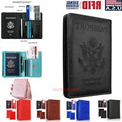 Slim Leather Travel Passport Wallet Holder RFID Blocking ID