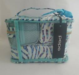 Bebe Train Case Set Cosmetic Bags w/ 3 Clear Travel Size Tub
