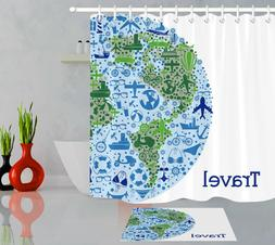 Travel Around the World Polyester Fabric Shower Curtain Bath